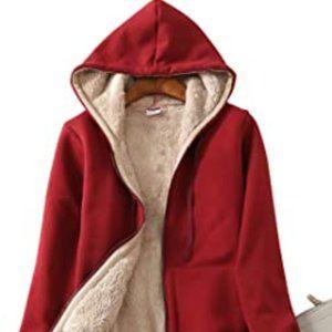 Urban Behaviour Red Faux Fur Lined Zip Up Hoodie